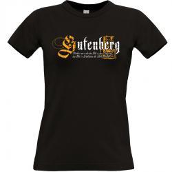 Gutenberg Buchdruck T-shirt schwarz Frauen